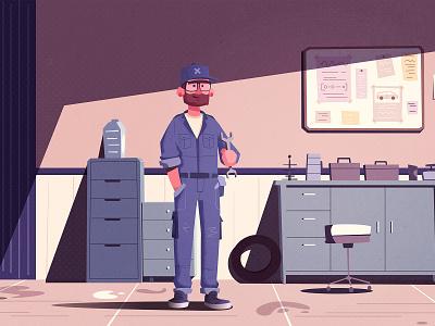Car repair shop banner garage flat uniform work character design shop car repair mechanic repair car design character cartoon vector illustration