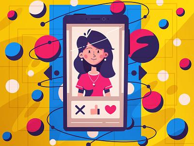 Matching neural abstact smartphone dating app dating matching match date picker date ui futuristic tech future art funny design character cartoon vector illustration