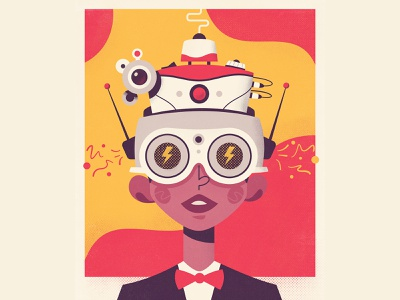 Virtual Reality midcentury vintage poster characterdesign boy virtualreality vr virtual retrofuturism retro futuristic tech future art design character cartoon vector illustration