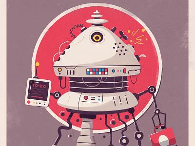 Kitchen robot futurism character design sci-fi comics retro work drone android futuristic tech robot flat future art design character cartoon vector illustration