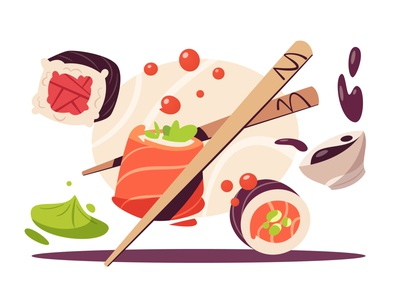 Rolls sushi rolls roll food chopsticks japanese food japanese cuisine flat art design cartoon vector illustration