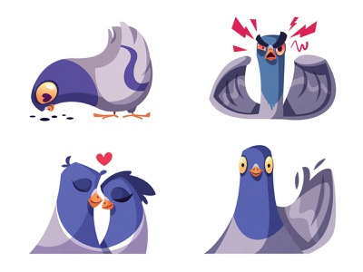 Stickers for Telegram | Pigeons part 1 greeting food emotion angry love icon telegram stickers sticker pigeons pigeon bird flat art funny design character cartoon vector illustration