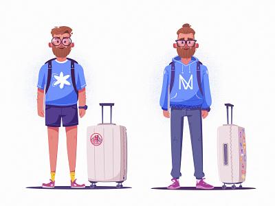 Traveler | IVN glasses beard suitcase traveler travel character design flat art funny design character cartoon vector illustration