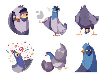 Stickers for Telegram | Pigeons part 2 messenger telegram icon stickers emotion dead celebrate weed sticker pigeon bird art funny design character cartoon illustration vector