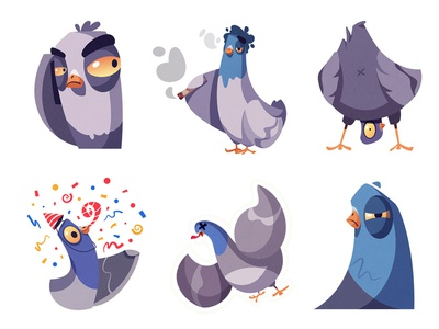 Stickers for Telegram | Pigeons part 2 messenger telegram icon stickers emotion dead celebrate weed sticker pigeon bird art funny design character cartoon illustration vector