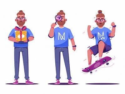 Character   IVN glasses character design beard gift box find skateboarding skate gift art funny design character cartoon vector illustration