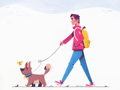 Walking the dog doggy walking character design friend pet dog art funny design character cartoon vector illustration