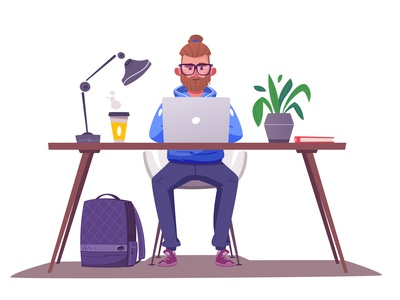 Working character character design office work art funny design character cartoon vector illustration