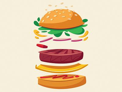 Burger delicious tasty fresh american cheeseburger fast food burger food flat art design cartoon vector illustration