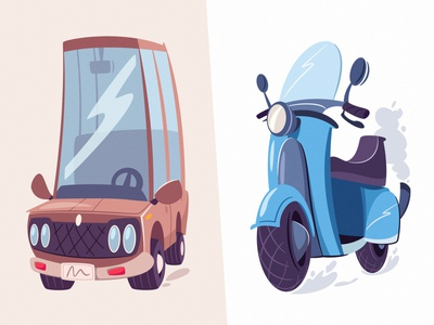 Car & Scooter | Diffy italian game speed transportation transport vintage old car scooter flat art funny design cartoon vector illustration