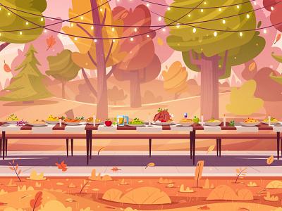 Thanksgiving dinner dinner food table wood forest trees thanksgiving day thanksgiving autum landscape flat art design cartoon vector illustration