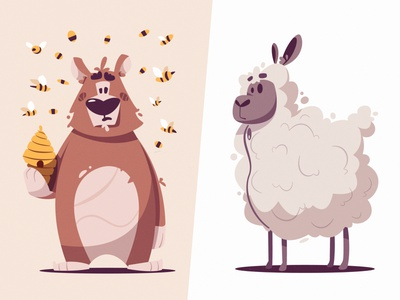Bear and sheep | Diffy game animals animal bear sheep flat art funny design character cartoon vector illustration