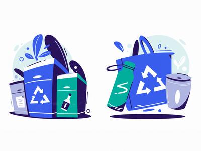 Zero Waste icon ecology eco waste zero waste zero flat art design cartoon vector illustration