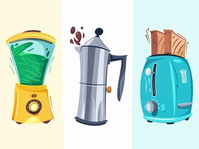 Kitchen appliances | Diffy espresso americano smoothie blender breakfast toaster coffeemaker coffee appliance kitchen flat art funny design cartoon vector illustration