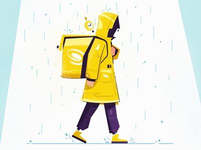Dostavka delivery service timer backpack walking food courier delivery flat art design character cartoon vector illustration