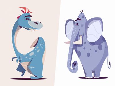 Funky Dinosaur & Shy Elephant | Diffy