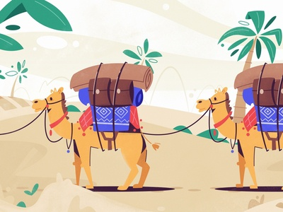 Silk Road | Joom arabian palm desert sand delivery travel camel silk flat art funny design character cartoon vector illustration