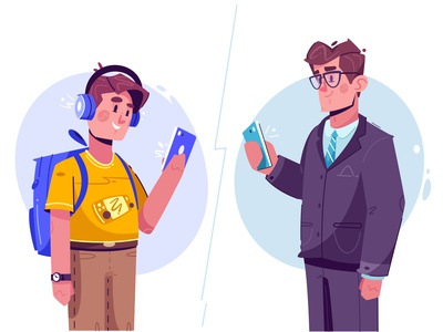 Online shopping | Joom business mobile app schoolboy kid chat shopping online mobile character design tech flat art funny design character cartoon vector illustration