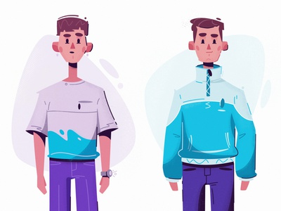 Brothers youth young fashion clothing character design flat funny art design character cartoon vector illustration