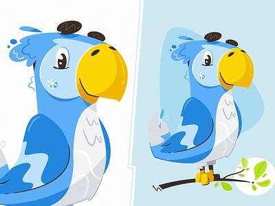 "Mascot for ""Parrot Creative"" cute mascot bird parrot animal flat funny art design character cartoon vector illustration"