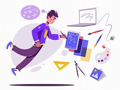 Designer artist designer loop animation art design character cartoon vector illustration