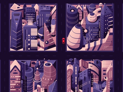 Futuristic city | Renault game art city futuristic tech future flat art design vector illustration