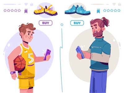 Buying shoes | Joom shoes online shopping character design flat art design character cartoon vector illustration