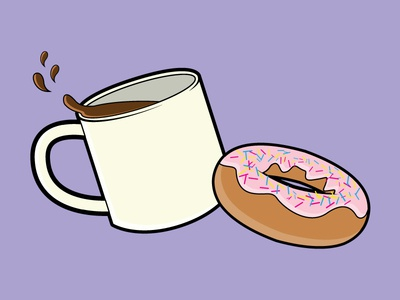 Coffee and Donuts 1 icon illustration vector homer simpson pink frosting donuts coffee