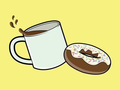 Coffee and Donuts 2 vector pink frosting illustration icon homer simpson donuts coffee