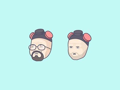 Let's Cook character icons heisenberg vector illo illustration pinkman jesse white walter bad breaking