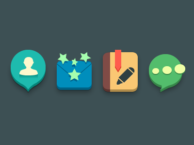 Cute icons message icon icons at mail book china word flat ui color hangzhou cloorful aric