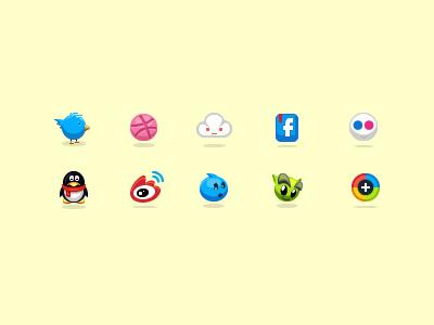 little icons , ) icons twitter dribbble cloud facebook flicker qq tencent weibo sina wangwang deviantart da googleplus g+ social icons googleplus aric china social