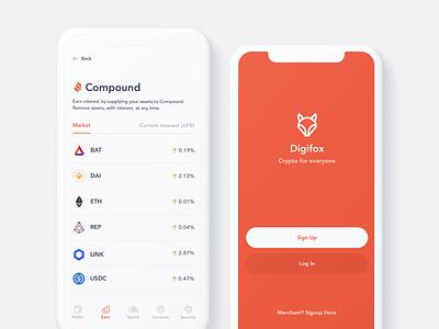 Digifox App Screens prototype ui crypto app app ui app design crypto wallet cryptocurrency crypto