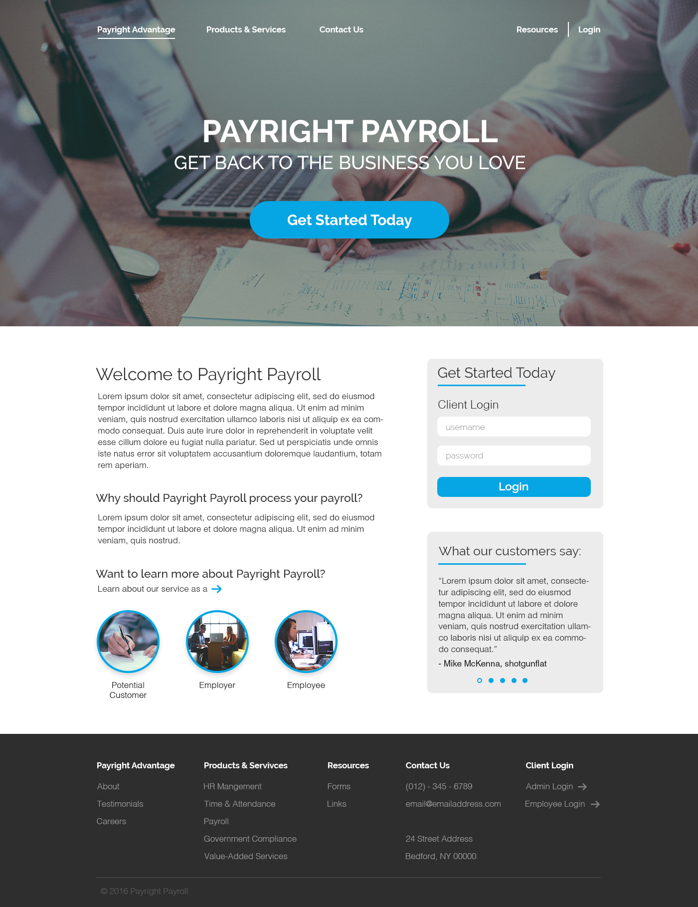 Payright landing page blue