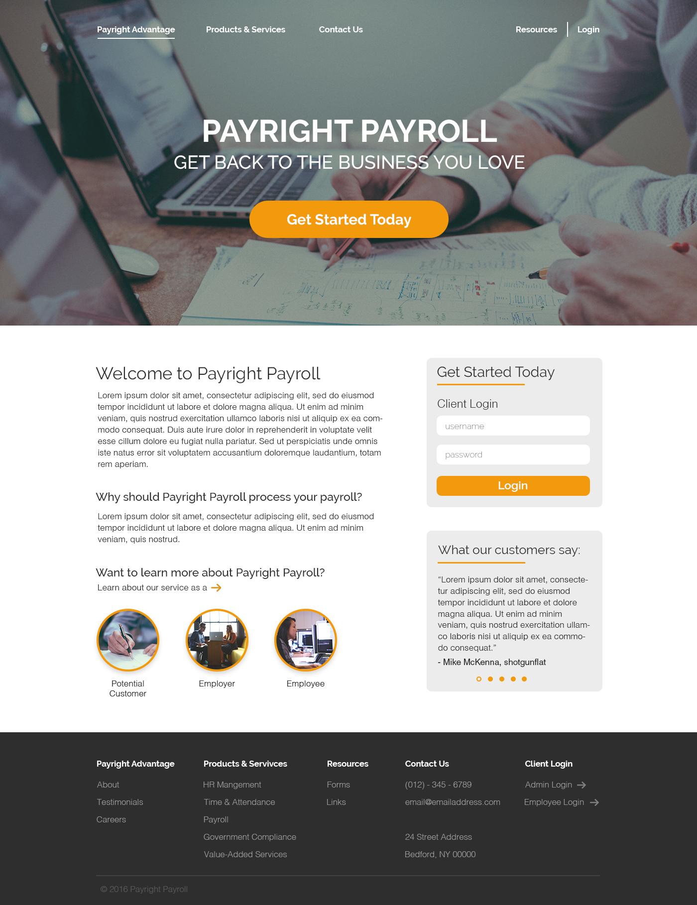 Payright landing page orange