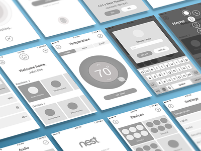 Nest Redesign | Wireframes home smart nest app smarthome nest app design app frames wire wireframes