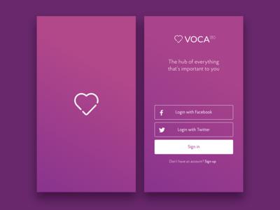 Voca 180 Sign In purple ui login login screen sign in ui sign in startup logo 180 voca voca 180