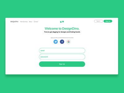 DesignDino - Sign Up Page sign up launch page website web design startup ripple tech launch open design open source designdino dinosaurs