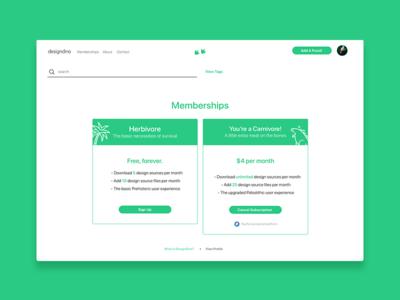 DesignDino - Memberships product design launch page website web design startup membership tech pricing open design open source designdino dinosaurs