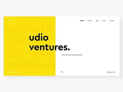 Udio Ventures innovate bold venture firm yellow ui entrepreneurship startup studio startups web design