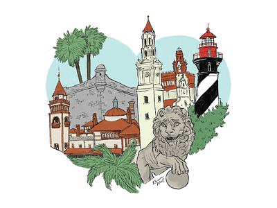 Heart of St. Augustine fort lion flagler lighthouse illustration florida oldest city hurricane matthew stafla st. augustine