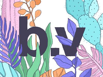 BV Jungle jungle cactus botanical brand cintiq wacom handdrawn leaf illustration lettering organic plants logo
