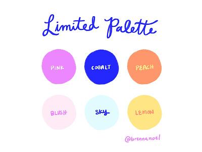 Breaking the Block limited color palette limited palette hot pink lemon peach blue procreate lettering digital illustration series color design illustration creative block color palette