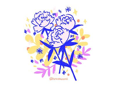 Peony Party garden grow fleur drawing ipad pro design plant floral illustration doodle floral design flowers bouquet peonies peony floral procreate illustrator hand drawn botanical illustration