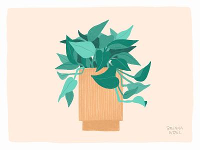Pothos plants spot illustration textures neutrals midcentury vines vine pothos house plant photoshop plant ipad pro procreate hand drawn botanical illustration