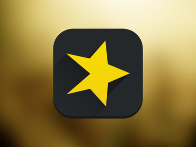 ios7 inspired Spreaker long shadow #2 icon ios7 app long shadow spreaker play flat black yellow star logo shadow