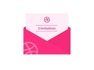 2 invitations for Dribbble invitation mail invite illustration flat icon