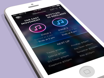 Line Up iOS7 App app stage festival music neon iphone ios7 mobile line up