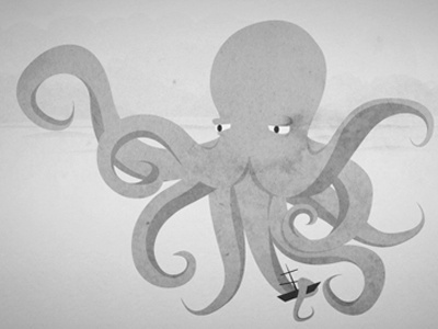 Character for a game website octopus illustration character game character website character paper texture greyscale