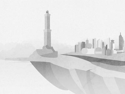 Piece of island black and white illustration island landscape game